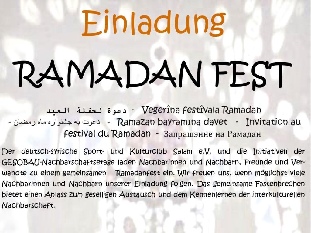 Ramadan Fest am 7. Juni im Märkischen Viertel